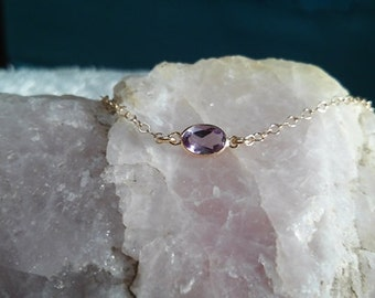 Amethyst Bracelet - 14k Solid Gold - Gemstone Bracelet - Bridesmaid Jewelry - Stacking Bracelet - 14k Birthstone Bracelet - Petite Bracelet