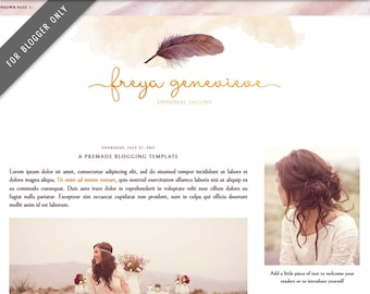 Blogger Template - Mobile Responsive & Dropdown Menu - Watercolor Design Blog - INSTANT DOWNLOAD - Freya Genevieve Theme