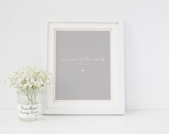 Welcome To The World Typographic Wall Art Print - New Baby Print - New Baby Gift