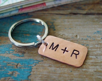 Personalized Keychain,Couple Initials,Hand Stamped,Copper Gift,Copper Anniversary,7th Anniversary Gift, Unisex Gift, Valentines Day Gift