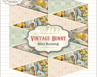 Easter Bunny Banner Bunting Printable PDF file to download instantly