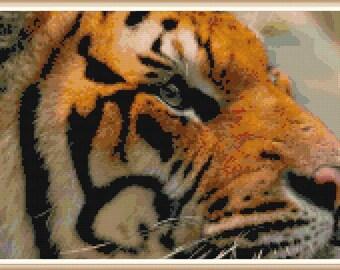 Tiger Cross Stitch Pattern - Animal Cross Stitch - PDF Download
