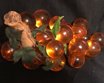 Vintage Grape Cluster Lucite 1960's Decor Orange Kitsch Funky 60's Grapes SALE PRICE was 55.00 now 45.00