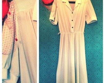 Stripy 40's style dress from the 70's S/M