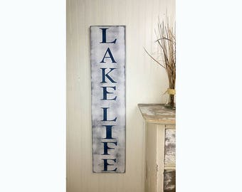 Lake Life Painted Wood Sign, Lake House Decor, Cottage Porch Decorations, Summer Patio Decorations, Farmhouse Style Decor for Summer Home