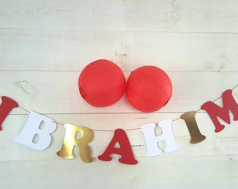 Garland name cotton paper coated + 2 tarbouches