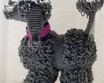 Vintage Poodle, Crochet,  Handmade dog and puppy Collectable stuffed animal. Poodle dogs made to order