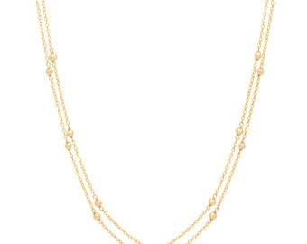 Freshwater Pearl Chain Necklace - Extra Long 46in. Necklace - 14k Gold Filled - Small White Freshwater Pearls - Gold Chain