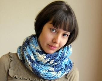 Hand knitted scarf Deep sea