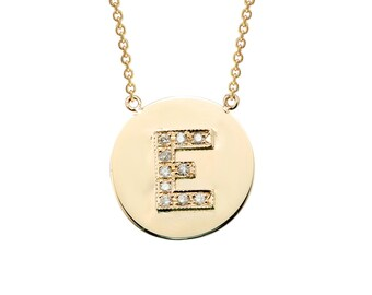 Personalized14k Gold Diamond Initial Disk Necklace