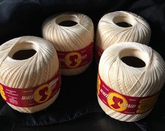 5 South Maid 100% Mercerized Cotton crochet thread  set of 6 unopened Vintage Lace Weight  Yarn 400 Yards 365M EACH Cream #430