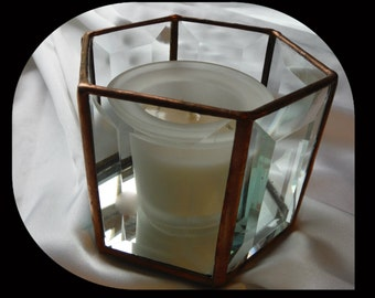 Candle Shelter, Mirrored Bottom, Beveld Glass