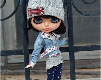 Blythe Gray Jacket, Blythe Clothes, Blythe, Outfit for Blythe 3 pc, OOAK Dress, Doll Clothing,