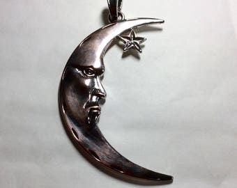 """Smiling man in the moon large pendant 9cm /3.6"""" long statement necklace copper and silver tone with 44cm waxed cord with 5cm extender"""