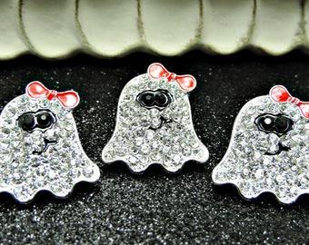 Halloween Ghost Rhinestone Sliders / Embellishments / DIY Ribbon Sliders / Hair Bow Centers / Flower Centers