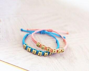 Couples Names Hemp Bracelets - Gold Letters - Hemp Jewelry