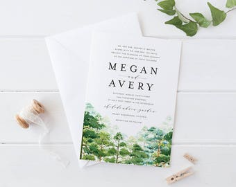 Printable Wedding Invitation Set, Pine Trees Wedding Invitation, Forest Wood Landscape Woodland Wedding Invitation Set