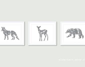 Forest Animals Prints Bear Print Fox Print Deer Print Modern Nursery Decor Woodland Animals Art Set Of 3 Prints 8x10 or 5x7 Custom Color
