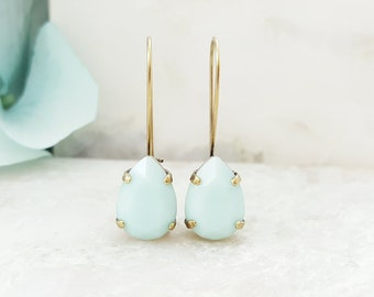 Swarovski Crystal Earrings - Mint Green Earrings - Rhinestone Drop Earrings - Teardrop Earrings - Something Blue for Bride - Bronze E3950