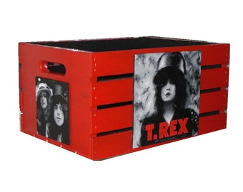 T. REX The Wall LP Vinyl All purpose Storage Crate Hand Made Hand Painted and Signed by Bill Schuler