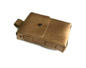 Golden Belt Bag, Leather Utility Bag, Leather Belt Pouch, Leather Hip Bag, Travel Pouch, Pocket Belt, Hip Pouch, Golden Italian Leather