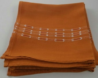 Vintage Napkins, Rust with Red and White Embroidery Stripe Napkins, 6 Napkins