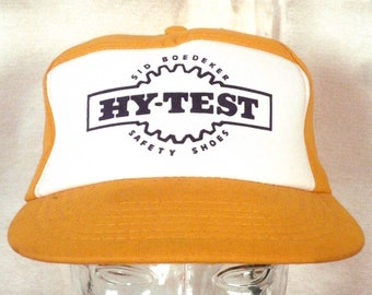 vtg 80s Hy-Test Safety Shoes Work Boots Insulated Trucker Hat Cap Farmer Farm