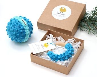 New Baby Gift Basket, Baby Boy Gift Set: Wooden Teether + Sensory Ball, First Baby Christmas, Boys Present Ideas, Eco Friendly Toy