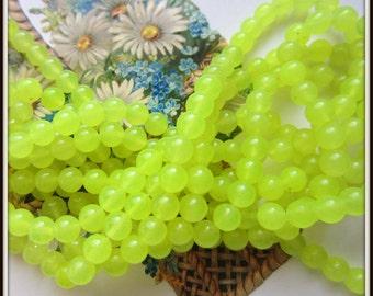 40 Noen green Jade beads gemstone 6mm jewelry making supplies JB6mm
