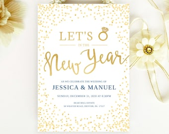 New years eve wedding invitations printed on shimmer cardstock