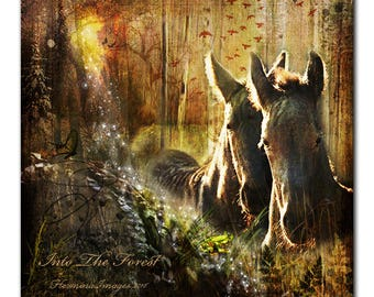 Into The Forest, Horse Art Canvas Print