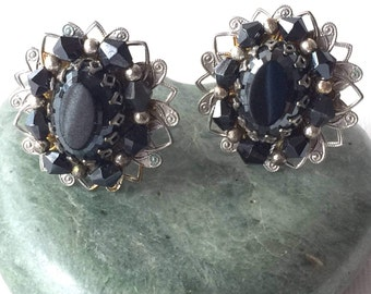 Ann Vien Earrings Designer Earrings Gorgeous Black Vintage Ann-Vien Jewelry Ann Vien Clip Earrings Black Silver and Black Anne Vien Earrings