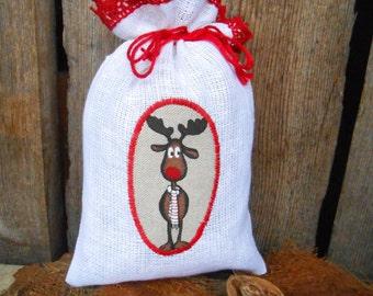 Santa Sack Linen Gift Bag Christmas Bag Deer Ornament Scandinavian Christmas Gift Bag Holiday Gift Bag Gift Wrap Swedish Christmas