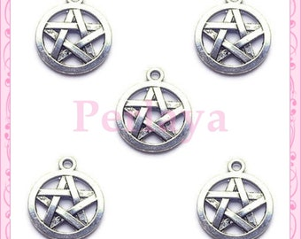 Set of 15 silver REF678X3 wicca pentacle charms