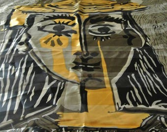 Gorgeous Vintage Picasso Scarf from Spain Woman with Hat