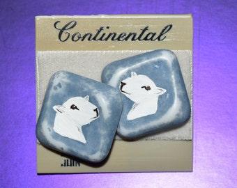 Hand Painted Montadale Sheep Head Blue Post Earrings