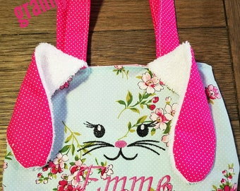 Little girls Easter bunny purse, personalized purse, bunny face , floppy ear bunny purse, easter basket, girls pink purse
