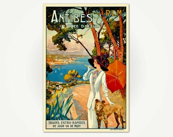 French Riviera Travel Poster - Antibes Vintage Côte d'Azur Travel Poster Print