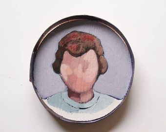 Original painting / acrylic on wood / figurative / portrait of woman / round format / retro