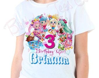Customized Shopkins Birthday Shirt Add Name & Age Shopkins Custom Birthday Party Tees