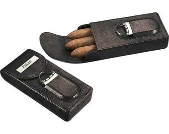 Cigar Case Brown or Black Leather For 3 Cigars With Cutter Personalized Cigar Gift Groomsmen Gift Fathers Day Father Groom Gift Custom Cigar
