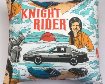 Knight Rider & Kitt Rare Vintage Fabric Cushion Selection - handmade by Alien Couture