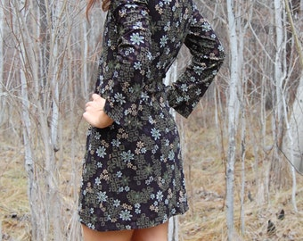 Vintage Mini Black and Floral Dress by EXPRESS with BELL SLEEVES Extra Small