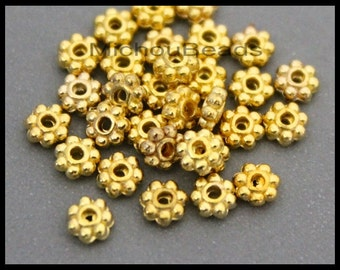 Sample 10 beads - 4mm GOLD Daisy Spacer 4x1.8mm Round Metal Daisy Snowflake Bead Spacers - USA Discount Instant Ship - 6728