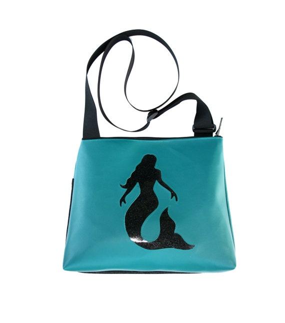 Mermaid, black, blue vinyl, glitter vinyl, vegan, vegan leather, large, cross body bag