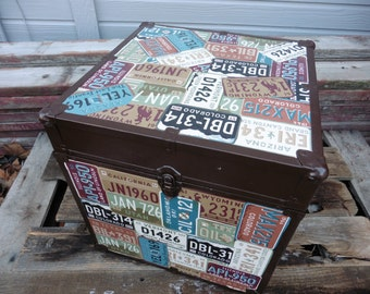 Upcycled Storage Square Trunk Box ~ Decoupage License Plate Wall Paper Design ~ Unique Travel Home Decor ~ Den Man Cave