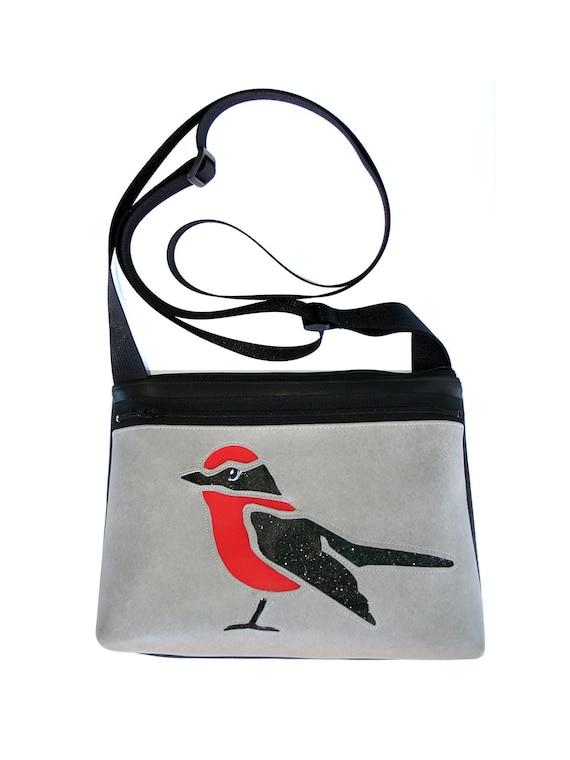 bird, glitter vinyl, red and black, gray vinyl, boxy cross body, vegan leather, zipper top