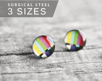 Color bars stud earrings, Surgical steel stud, Multicolor earring post Tiny earring studs, TV test pattern post, geekery, geek jewelry