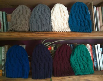 The Traveling Cables Hat for Adults - knitted handknit winter hat