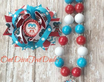 Dr. Seuss Thing 1 Thing 2 hair bow and chunky necklace